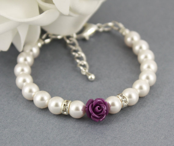Mariage - Flower Girl Bracelet, White Pearl and Flower Bracelet, Swarovski Bracelet, Bridal Jewelry, Flower Girl Gifts, Dark Purple Flower Bracelet