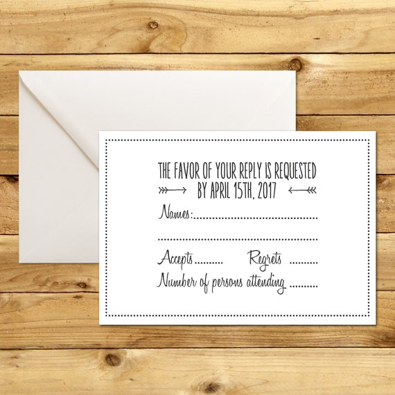 printable wedding rsvp response card template dark grey white instant download editable ms word doc cupids dart collection