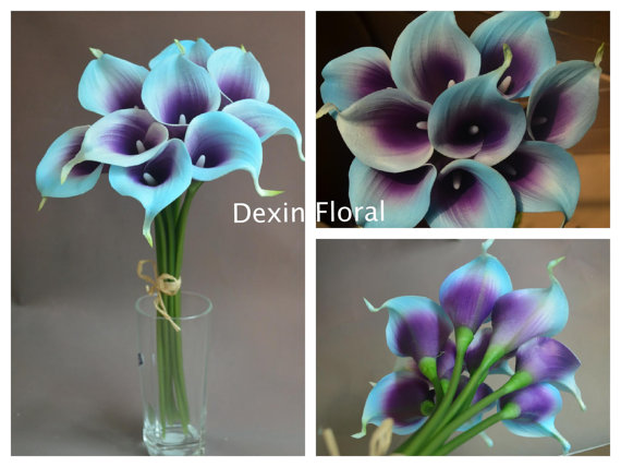 New 9pcs 36pcs Natural Touch Blue Purple Picasso Calla Lily