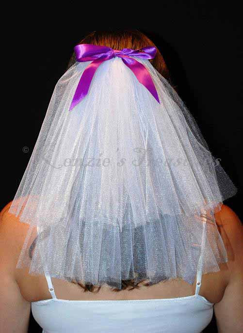 Wedding - Create Your Own 2-Tier Bachelorette Party Veil with Custom Bow Color