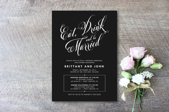 Mariage - Printable Rehearsal Dinner Invitation - Eat, Drink and Be Married