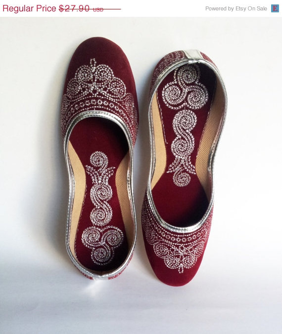 Mariage - 15%SummerCelebration Maroon Wedding shoes/US Size 7.5/Velvet Shoes/Silver Embroidered Designer Shoes/Deep Red Ballet Flats/Handmade Women Sh