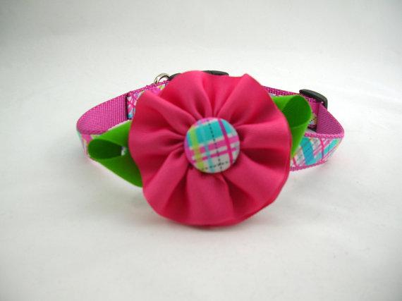 زفاف - Girl Dog Collar with Flower