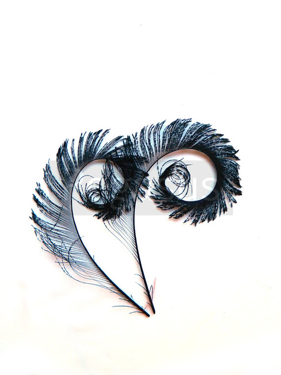 Mariage - BLACK Curled Peacock Sword Tail Feathers. DIY feathers for wedding bouquets, invitations, center pieces and millinery (4 Feathers)
