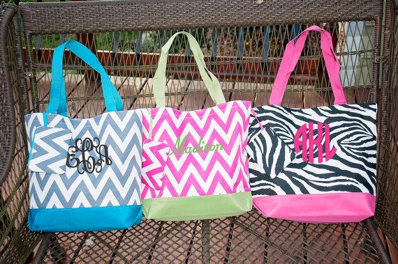 Monogrammed Beach Bag - Monogram Bag - Bridesmaid Bags ...