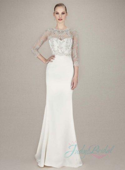 Wedding - JW16069 simple plain sheath wedding dress with sparkles bolero