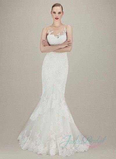 Jw16072 Y Sheer Top Illusion Lace Back Mermaid Tiered Wedding Dress