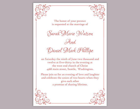 DIY Wedding Invitation Template Editable Text Word File Download - Wedding invitation templates: editable wedding invitation templates