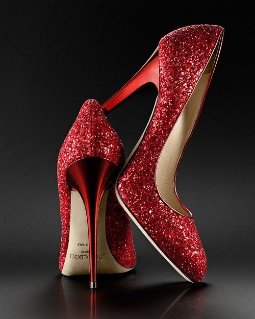زفاف - Jimmy Choo Red Sparkle Pumps. My Wedding Shoes. Count On It.