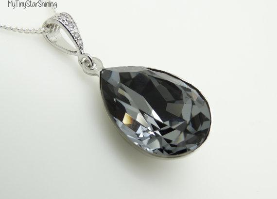 Hochzeit - Black Necklace Grey Black Crystal Necklace Silver Necklace Wedding Jewelry Bridesmaid Gift Bridal Jewelry Wedding