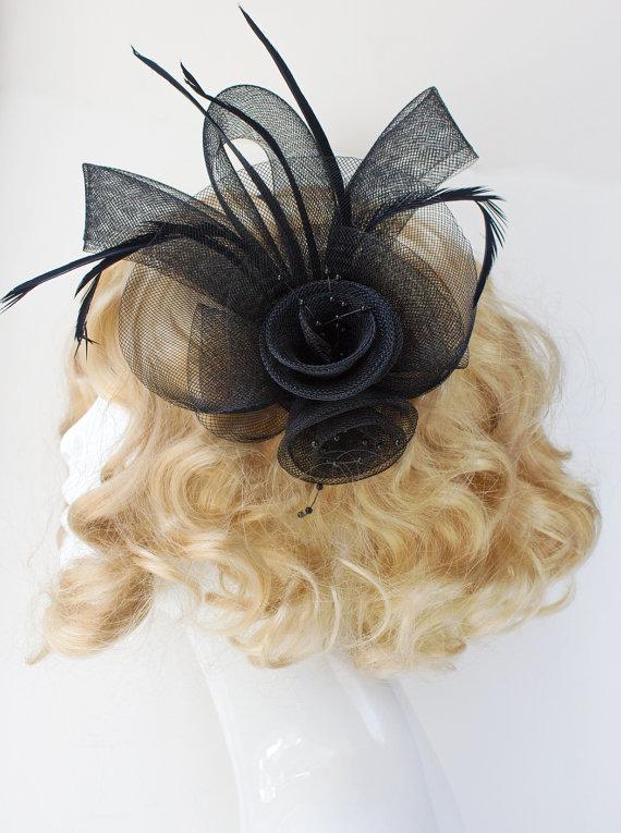 زفاف - Black Fascinator, Fascinator Hat, Derby Fascinator, Wedding Fascinator, Handmade Fascinator, Black Fascinator Hat, Racing Fashion, H196-BK