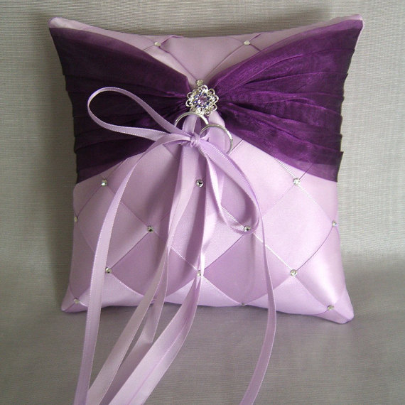 Свадьба - Wedding Ring Bearer Pillow,  Ribbon Weave with Swarovski Crystals, Custom Made to your colors