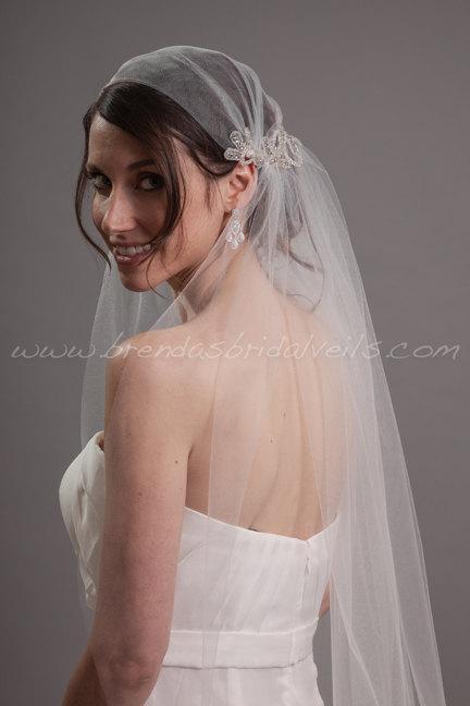 زفاف - Crystal Rhinestone Cap Veil, Juliet Cap Style Bridal Veil, Flapper Style Wedding Veil - Sadie