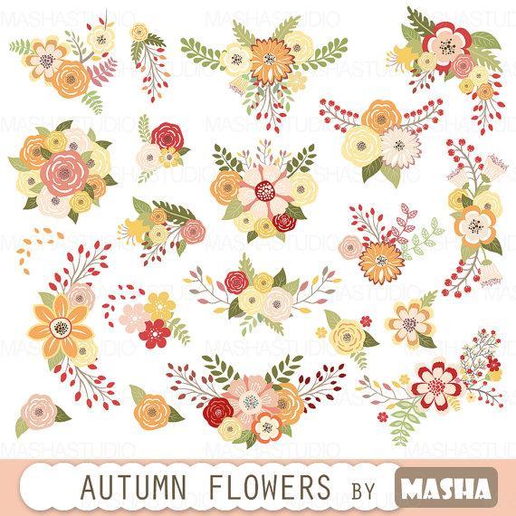 Autumn Flowers Clipart: \