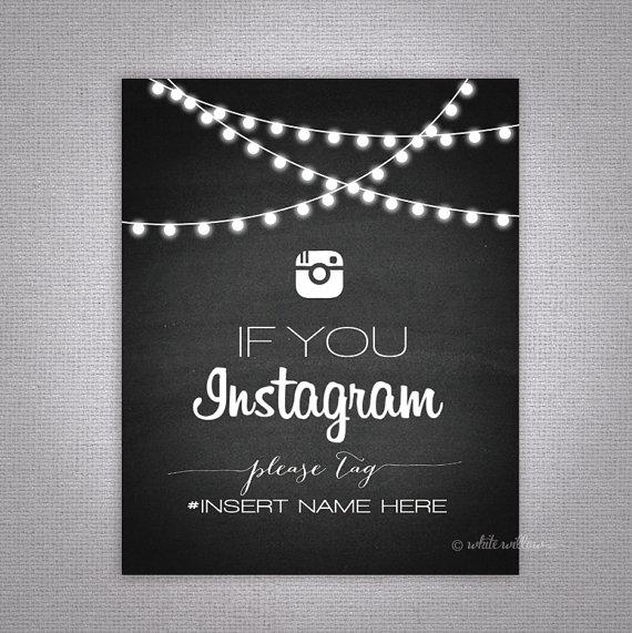 Hochzeit - Wedding Instagram Sign (Chalkboard) (Printable File Only); Printable Wedding Signs; Printable Instagram Sign; Printable Chalkbord Sign