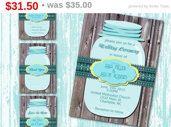 Hochzeit - Sale DIY Printable Wedding Invitation Suite-Mason Jar- Country-Rustic-Wood-DIY-Set-Teal Yellow