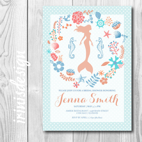 mint green blue mermaid coral bridal shower invitation