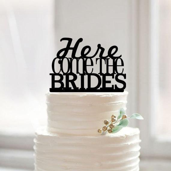 Свадьба - Lesbian cake topper,same sex wedding cake topper,here comes the brides cake topper,unique wedding toppers,glitter same sex cake topper gift