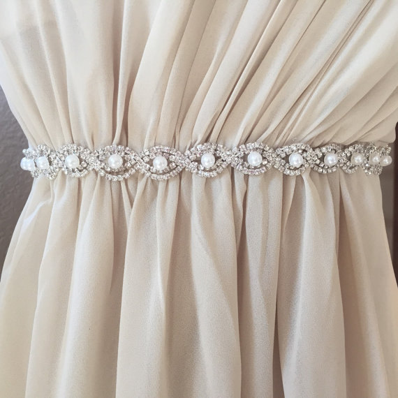 Mariage - Full Length Pearl and Rhinestone Bridal Belt with Clasp - Thin Bridal Belt - Bridesmaids Belt - Rhinestone Pearl Wedding Belt - EYM B036