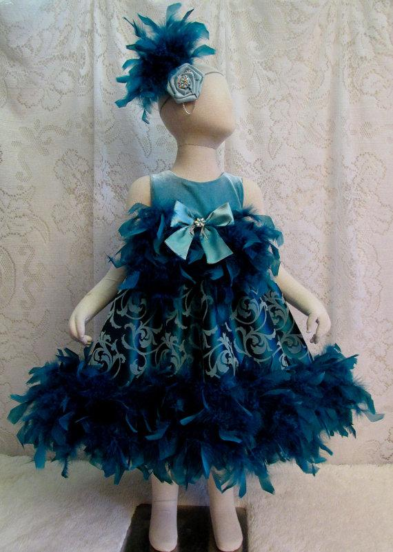Mariage - 2T Teal & Seafoam Green Flocked Feather Dress with Matching Headband, Pageant Dress, Flower Girl Dress, Birthday Dress, Ready to Ship!
