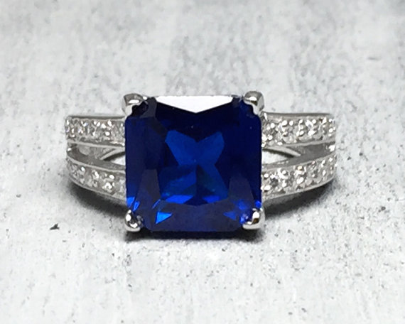 Mariage - Princess cut 5.62 cts Blue Sapphire CZ w/ White CZ stones solid 925 sterling silver engagement wedding ring size 5 6 7 8 9 10 Women's ring