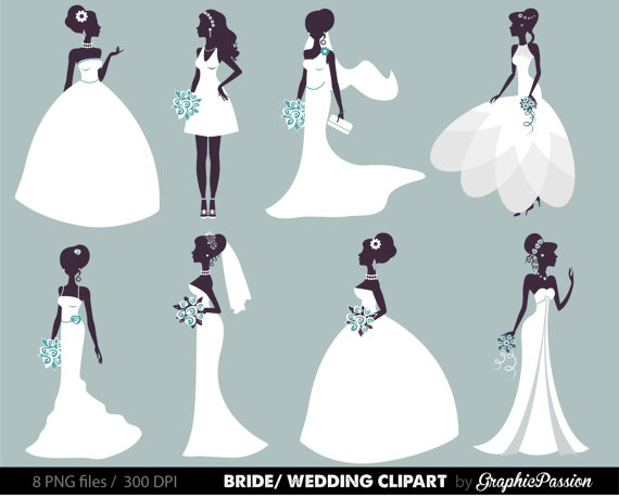 Wedding Clipart Bridal Bride Digital Groom Clip Art ClipArt Invitation