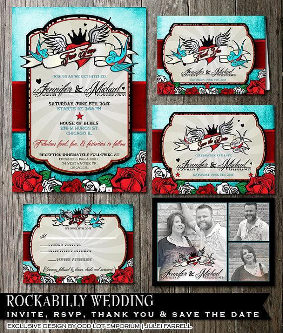 زفاف - Rockabilly Wedding Invitation and stationery