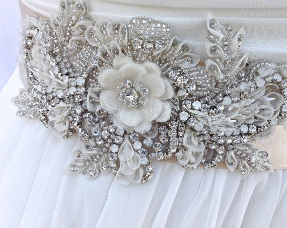 زفاف - Custom Order For Joanna- Beaded Crystal Appliqué