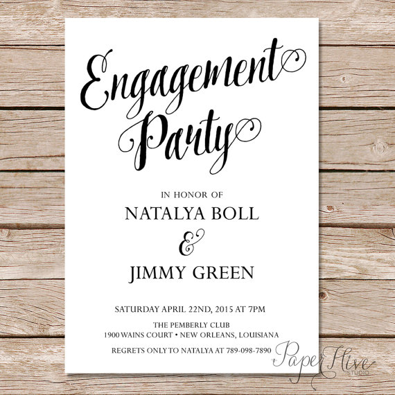 Modern calligraphy engagement party invitation