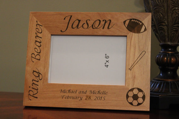 Wedding - Personalized engraved wood picture frame, Ring Bearer gift, Ring Bearer Frame, Customized wood picture frame, Engraved picture frames