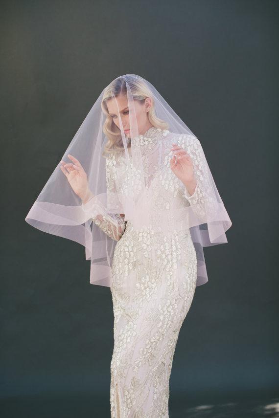 """Свадьба - 3"""" Horsehair Veil, Drop Veil, Bridal Wedding Veil, Pink Blush Tulle Veil, Ribbon Edge Veil, Long Veil, Two Tier Veil, Ivory Veil, #1203-3"""""""