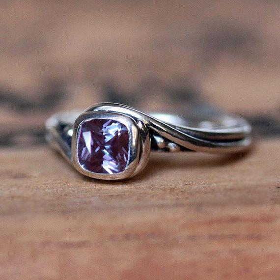 زفاف - Alexandrite engagement ring - unique alternative gemstone ring - June birthstone - pirouette ring - recycled silver - custom made to order