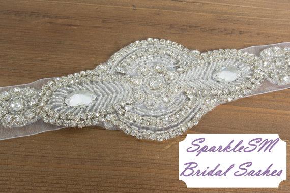 Wedding - Wedding sash, Bridal belt, Bridal sash - Satin Ribbon, Crystal and Rhinestone Beaded Applique, Bridal Belt, SparkleSM Bridal Sashes, Delaney