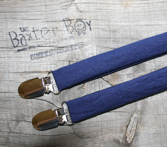 Свадьба - Solid Navy little boy matching suspenders - photo prop, wedding, ring bearer, accessory, navy blue