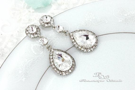 Mariage - Crystal teardrop earrings Bridal teardrop earrings Drop wedding earrings bridesmaid earrings bridesmaid gift wedding jewelry - 1327
