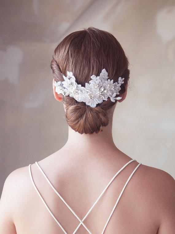 Hochzeit - Crystal Bridal Lace Headpiece, Ivory Wedding Headpiece, Lace Bridal Hair Comb, Ivory Lace Bridal Hair Accessory, Lace Bridal Comb, STYLE 313