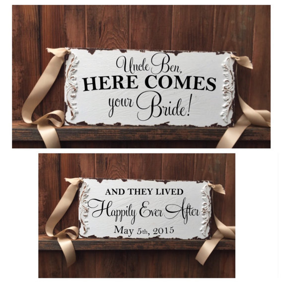Mariage - Here comes your bride, and they lived happily ever after, double sided ring bearer sign