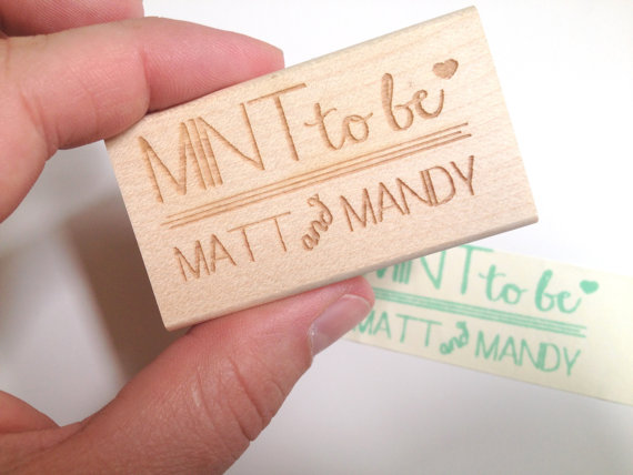 mint to be custom wedding favor stamp 2x1 mint bridal shower favors