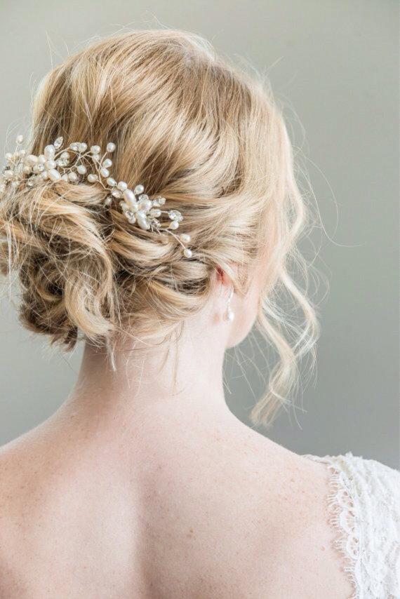 Wedding - Bridal Hairpins, Bridal Hairpiece, Hair Vine, Bridal Halo, Bridal Headpiece, Freshwater Pearl Bridal Hairpins, Bridal Hair Pins