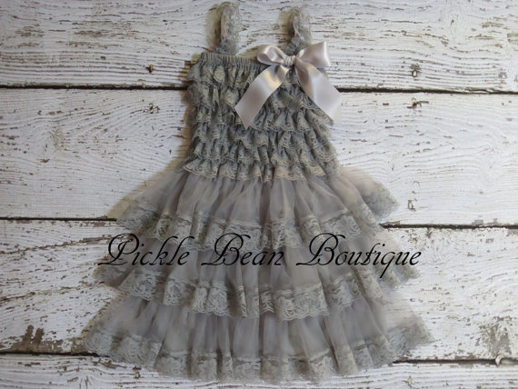 Rustic Flower Dress Baby Party Wedding Dresses Gray Lace Cow Grey Brown Pink White