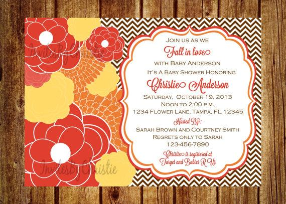 Fall Flower Baby Shower Invitation Digital File Diy Printable