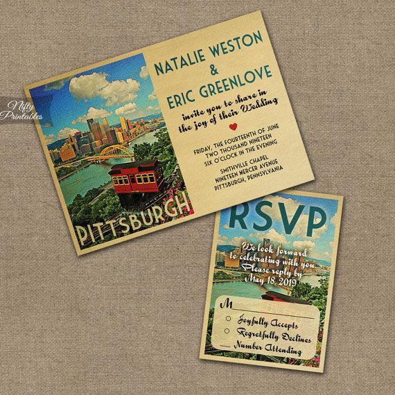 Свадьба - Pittsburgh Wedding Invitation - Printable Vintage Pittsburgh Pennsylvania Wedding Invites - Retro Pittsburgh Wedding Suite or Solo VTW