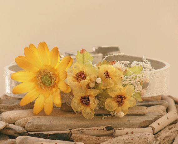 Свадьба - Floral Dog Collar, Pet wedding Accessory, Spring Wedding Accessory