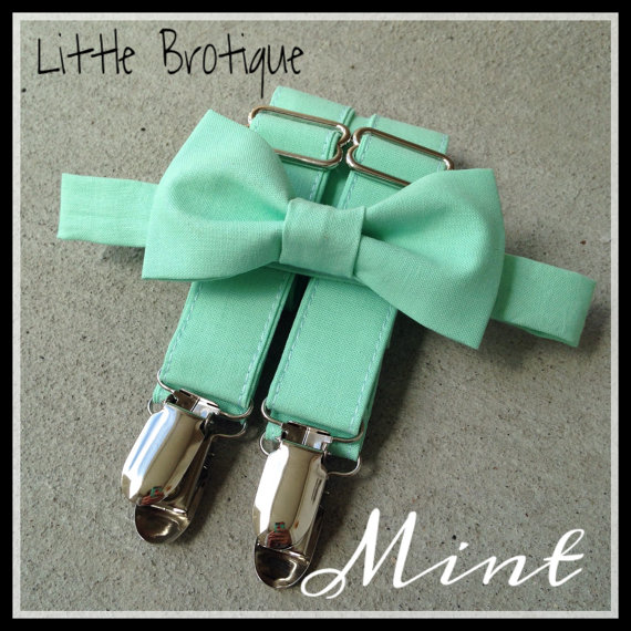 Hochzeit - Mint Bow Tie and Suspender Set for Babies, toddlers, boys, and men.