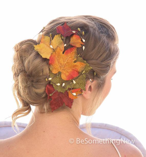 Wedding - Big Fall Leaves Hair Comb, Fall Wedding Headpiece, Autumn Leaf Hair Clip