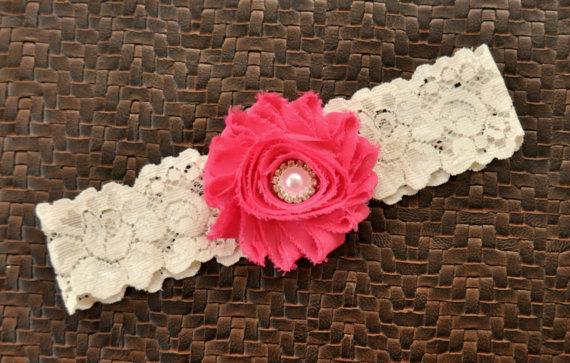 Hochzeit - Wedding Garter, Bridal Garter, Hot PInk Wedding Garter, Hot Pink Bridal Garter, Ivory Lace Garter, Ivory Garter Belt, Hot Pink Garter