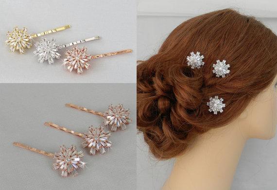 Bridal Hair Pins Wedding Clip Gold Rose Bobby Vintage Style Swarovski Crystal Comb Rhinestone Julia
