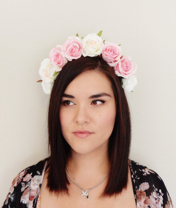 Pink And White Cream Rose Flower Crown - Floral Crown 0a3050a3351