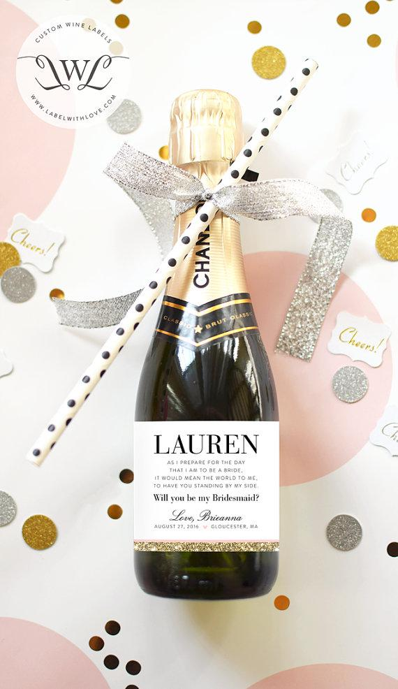 Свадьба - Will You Be My  Bridesmaid Mini Champagne Labels - Weatherproof  Labels - Perfect for a Bridesmaid Box or your Maid of Honor Proposal