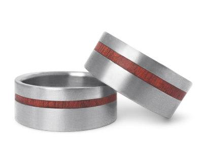 Wood Inlay Titanium Ring Wooden Wedding Band Set Wood Ring His And Hers Wed